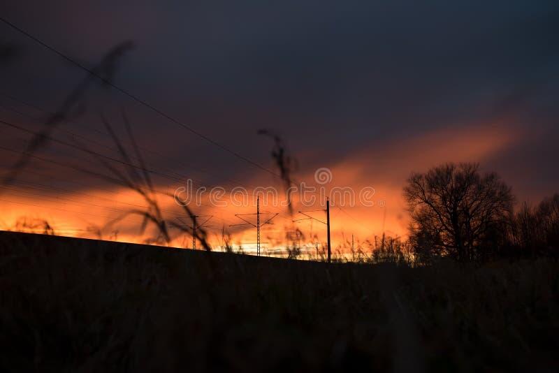 Landskap av Maisach på solnedgången royaltyfria foton