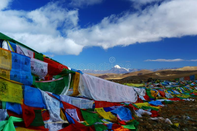 Landskap av Mount Kailash arkivbilder
