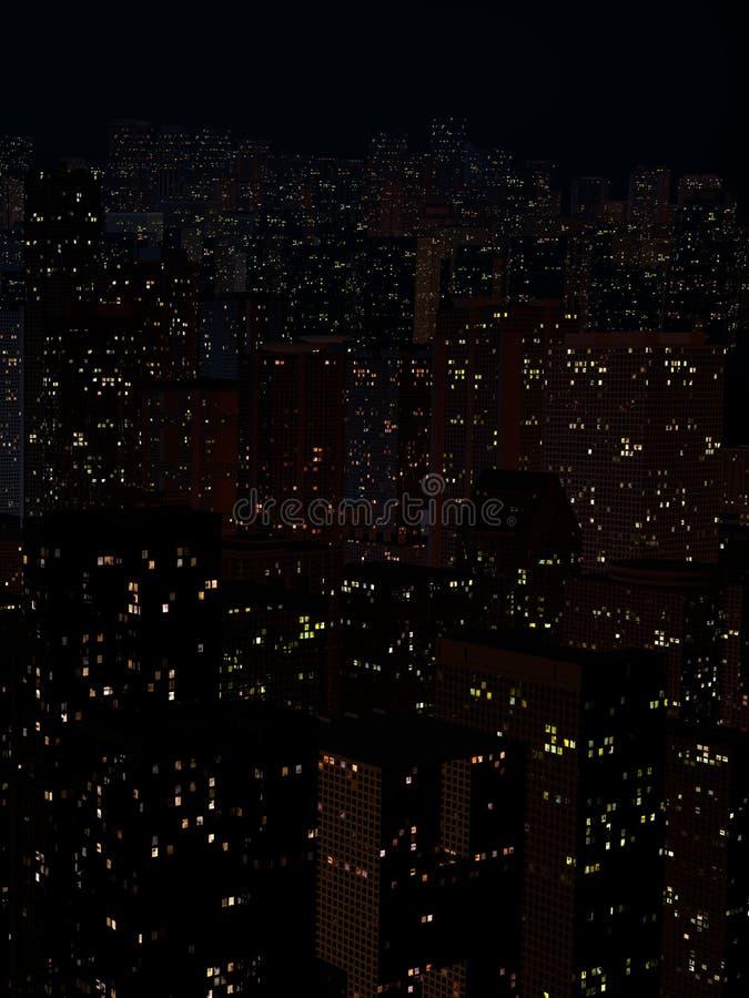 Landskap av nattstaden royaltyfri bild