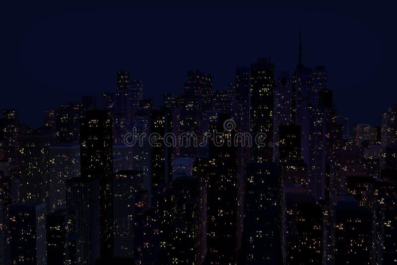 Landskap av nattstaden arkivbild