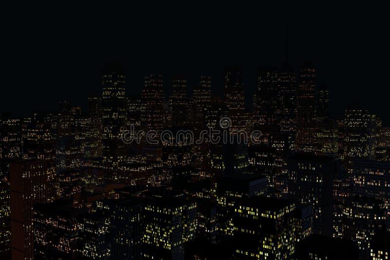 Landskap av nattstaden royaltyfri foto