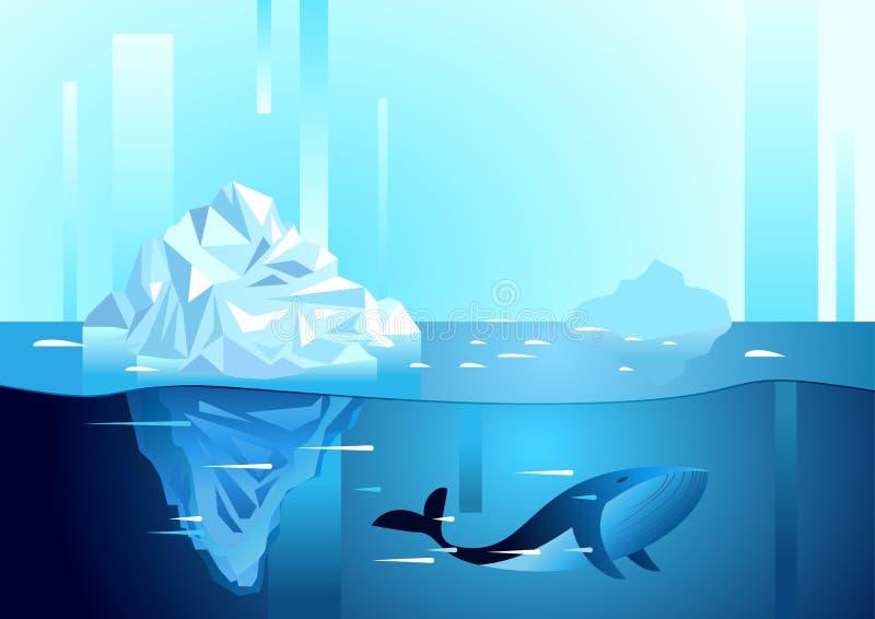 Landskap av nordligt och antarktiskt liv Isberg i havet vektor illustrationer