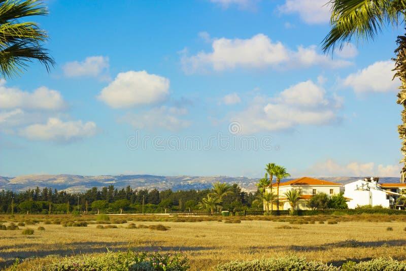 Landskap av staden Paphos med hus, träd och berg arkivfoton