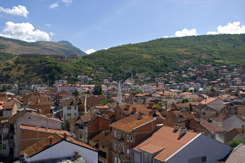 Landskap av staden, Prizren, Kosovo royaltyfri bild
