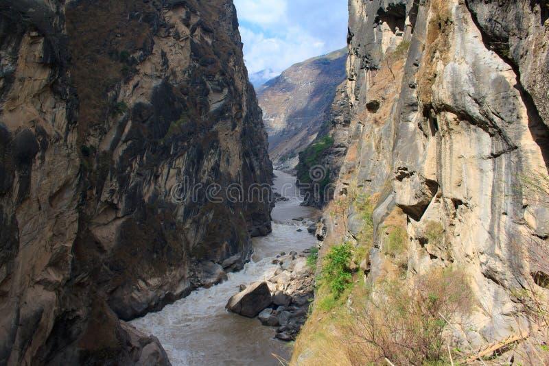 Landskap av tigern som hoppar klyftan. Tibet. Kina. fotografering för bildbyråer