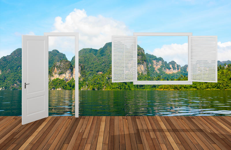 Landskap bak öppningsdörren och fönstret, 3D stock illustrationer