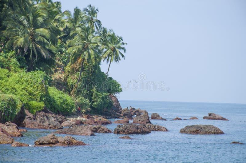 Landskap den tropiska stranden av Vasco De Gamma i Indien royaltyfria bilder