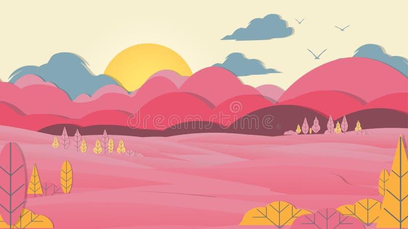 landskap för äng för Papper-snitt stilApplique med berg - Vect royaltyfri illustrationer
