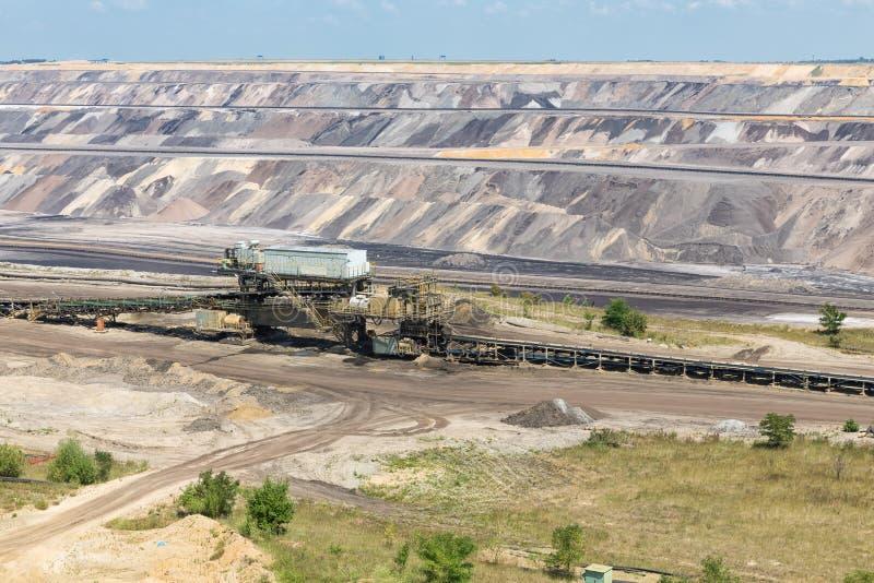 Landskap för öppen grop för brunt kol med transportbandet i Tyskland royaltyfri bild