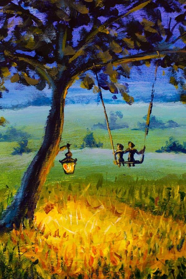 Landskap för afton för olje- målning lantligt, en lykta som hänger på ett träd, en grabb med en förälskad ritt för flicka på en g royaltyfri illustrationer
