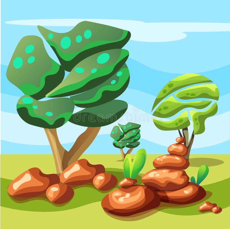Landskap för att spela med träd och stenar arkivfoto
