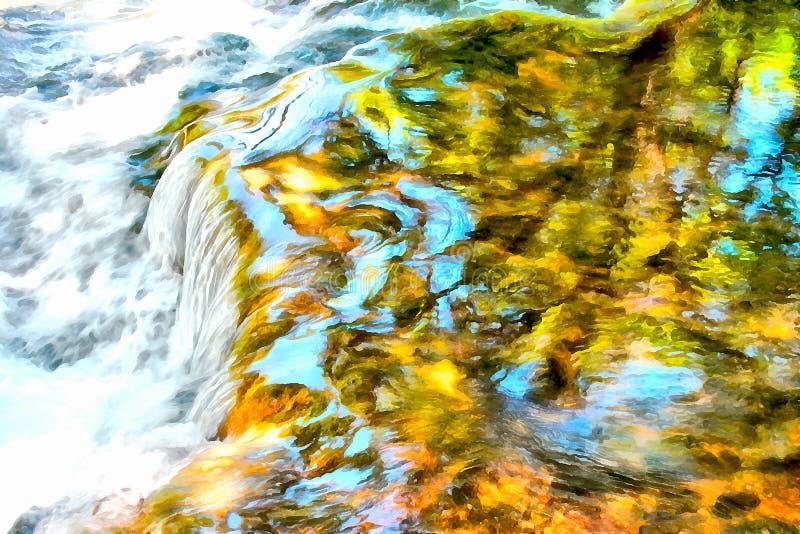 Landskap för berg för bakgrundsvattenfärgmålning royaltyfri fotografi
