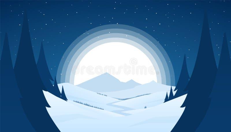 Landskap för berg för vinter för vektornatt snöig med kullar, flod eller väg och dumbommåne royaltyfri illustrationer