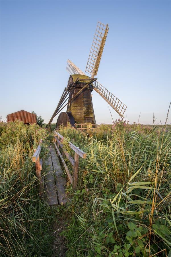 Landskap för bygd för gammal dräneringwindpumpväderkvarn på engelska arkivfoton