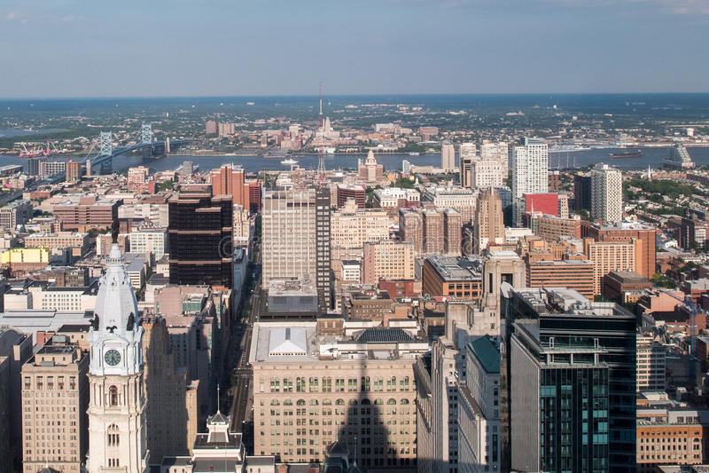 Landskap för cityscape för pano Philadelphia för flyg- sikt arkivbild