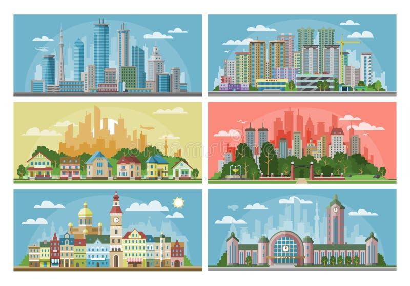 Landskap för Cityscapevektorstad med stads- arkitekturbyggnad eller konstruktion och hus i stadgatorna stock illustrationer