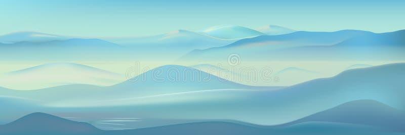 Landskap för dimmiga berg för vektor realistiskt Blå naturbakgrund Härlig vinterbergkontur vektor illustrationer