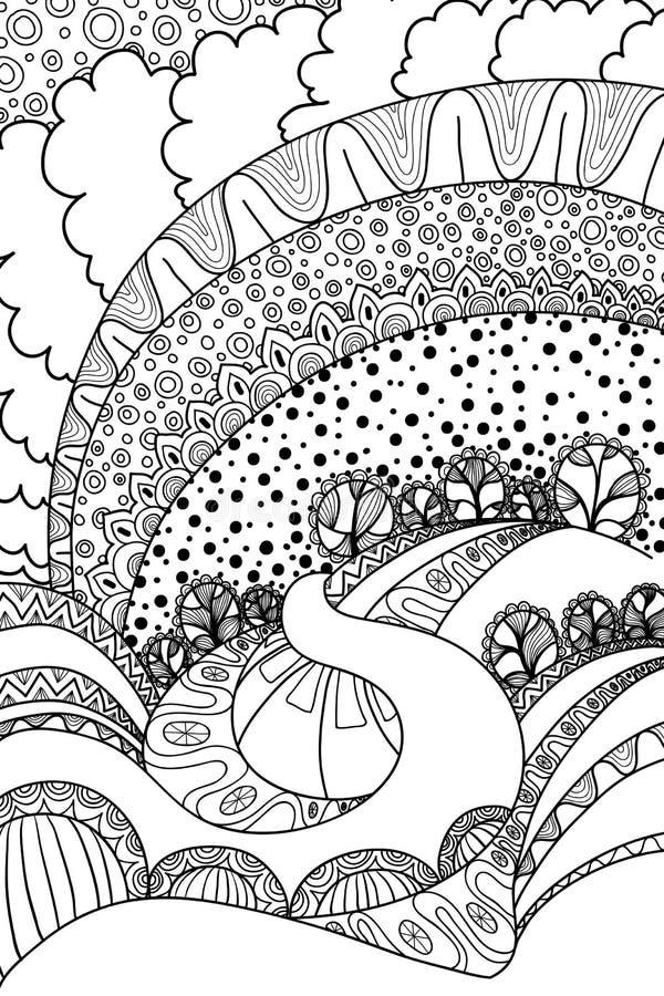 Landskap för färgläggningbok royaltyfri illustrationer