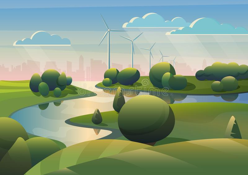 Landskap för gräsplanlandfält med floden, väderkvarnar för vindturbiner och den moderna staden under blå himmel Ekologialternativ vektor illustrationer