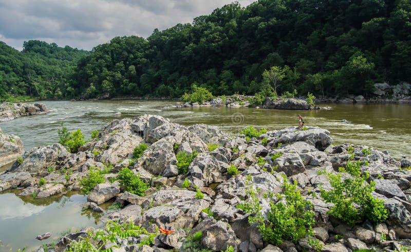 Landskap för Great Falls Maryland bergöverkant royaltyfri bild