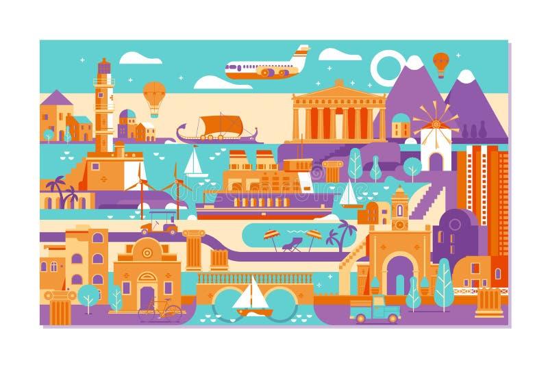 Landskap för Grekland sommarö Pittoreskt skissa Ideal för kortet, inbjudan, baner, affischer vektor illustrationer
