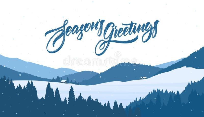 Landskap för jul för berg för vektorvinter snöig med tecknad filmhus och handskriven bokstäver av säsongs hälsningar royaltyfri illustrationer