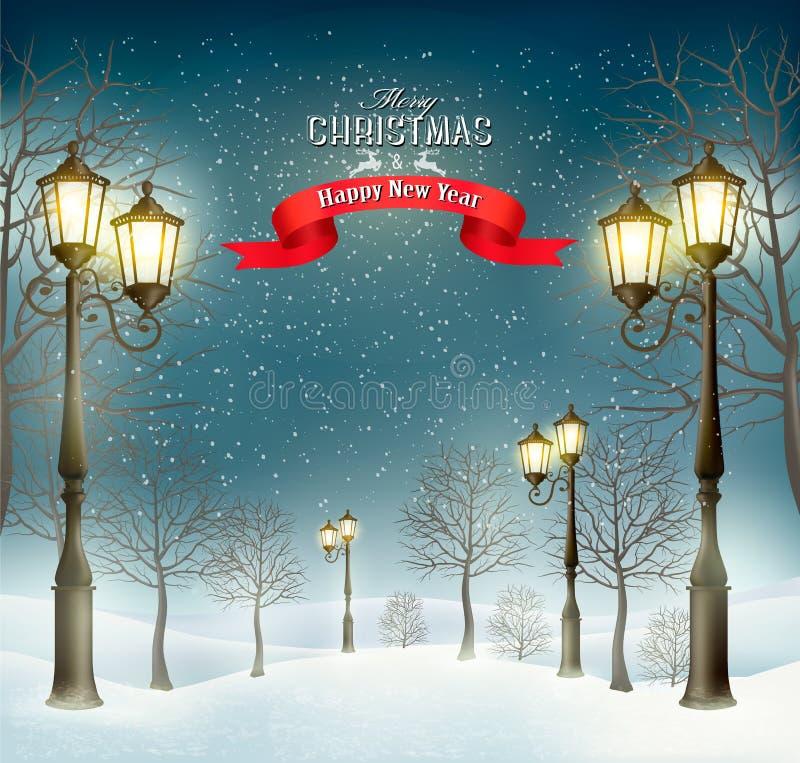 Landskap för julaftonvinter med lyktstolpar vektor illustrationer