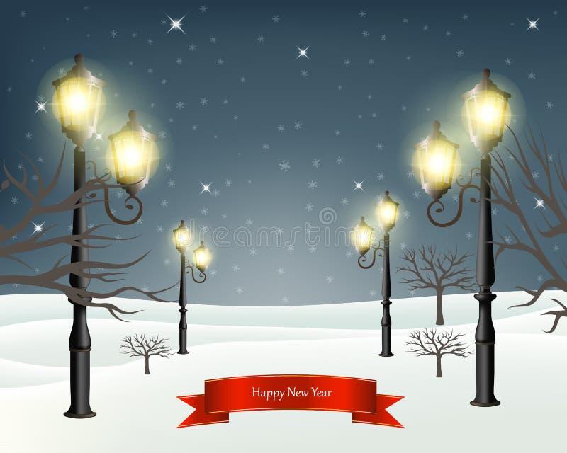 Landskap för julaftonvinter med lyktstolpar också vektor för coreldrawillustration vektor illustrationer