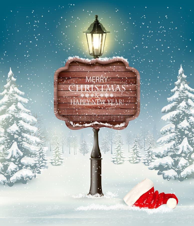 Landskap för julaftonvinter med lyktstolpen stock illustrationer
