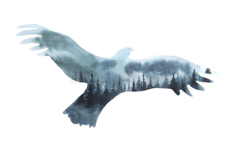 Landskap för kontur för Watrcolor örnillustration som isoleras på vit bakgrund royaltyfri illustrationer