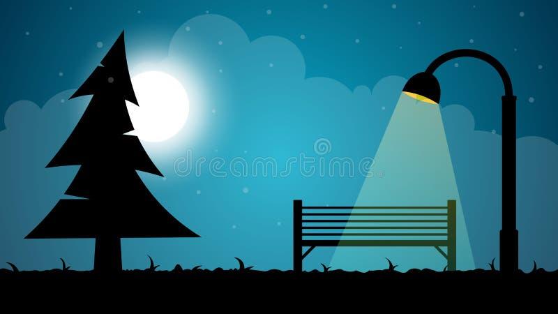 Landskap för loppnatttecknad film Gran måne, shoppar, lyktaillustrationen royaltyfri illustrationer
