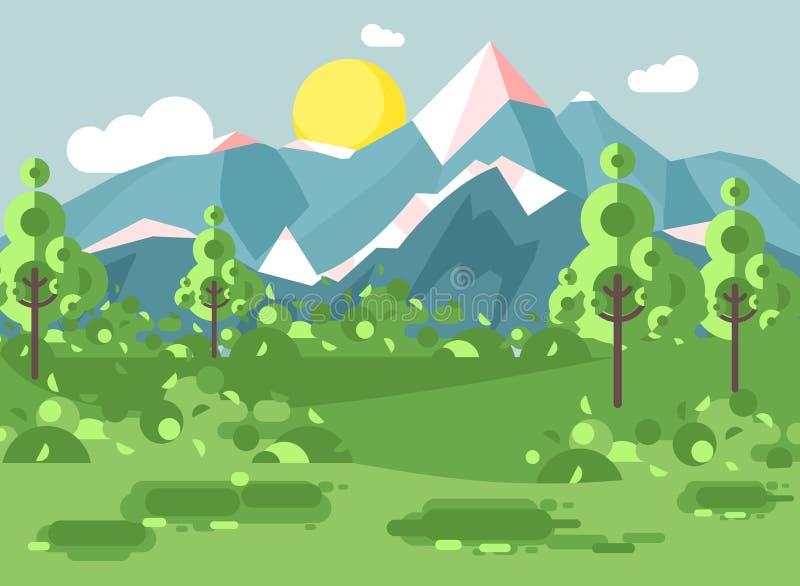 Landskap för nationalpark för natur för vektorillustrationtecknad film med buskar, gräsmatta, träd, solig dag för dag med blå him stock illustrationer
