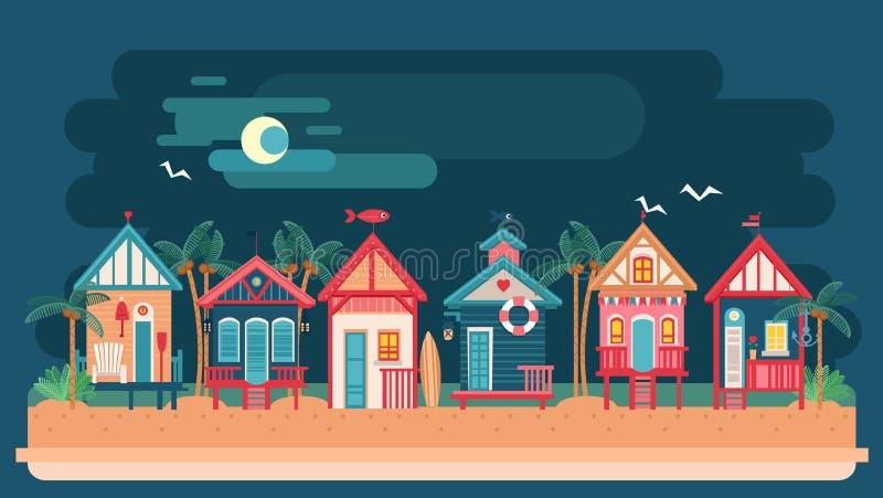Landskap för natt för havssida med strandhuset royaltyfri illustrationer