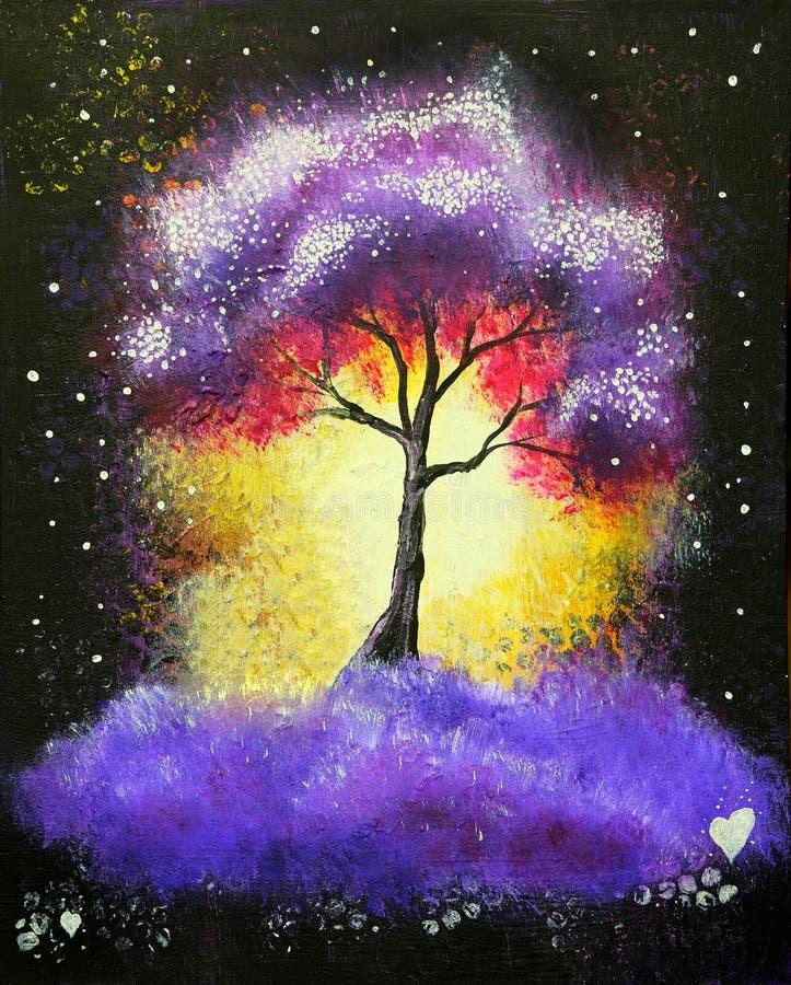 Landskap för oljamålning, abstrakt färgrikt purpurfärgat träd stock illustrationer