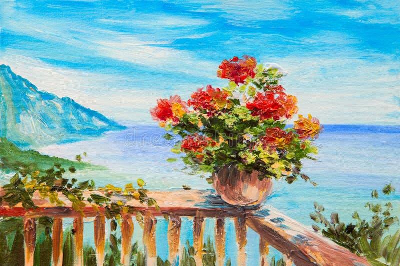 Landskap för olje- målning - bukett av blommor stock illustrationer