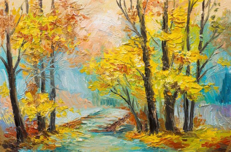 Landskap för olje- målning - färgrik höstskog stock illustrationer