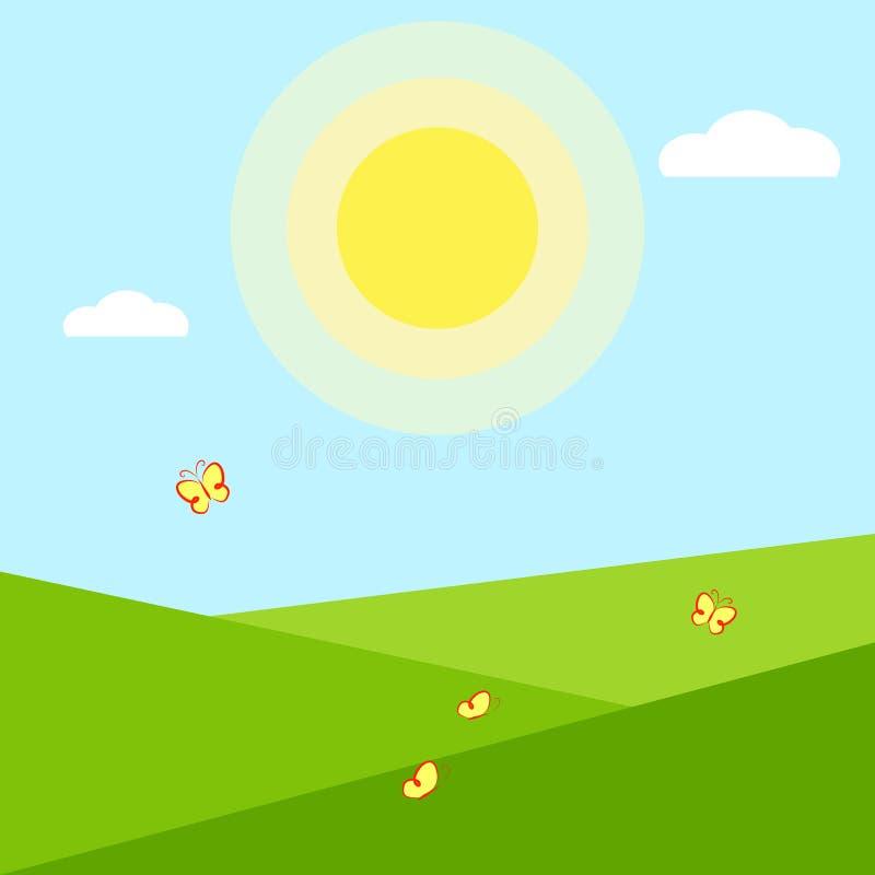 Landskap för sommar för bakgrund för säsong för tapetapplikationsommar geometriskt för sommartid för kalender för appbanerkort en vektor illustrationer