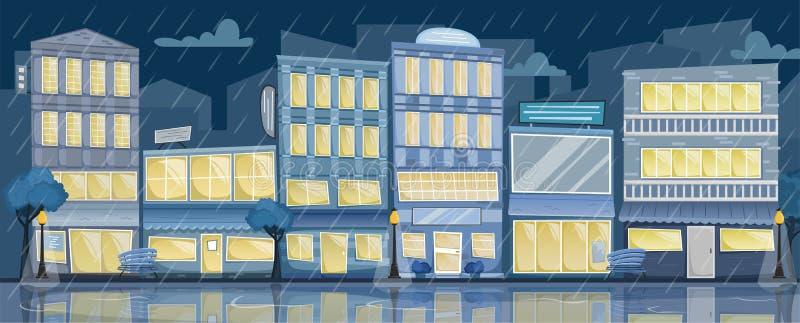 Landskap för stad för plan vektornatt regnigt Gata med ljusa hus, tecken, träd och bänkar vektor illustrationer