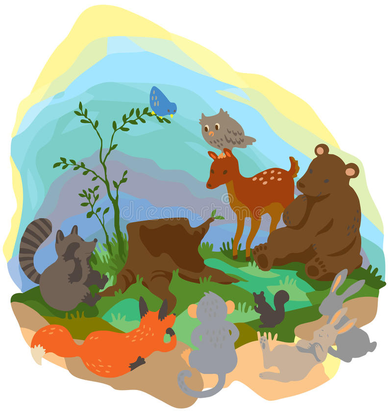 Landskap för tecknad filmskogvildmark med många djurlivdjur s royaltyfri illustrationer