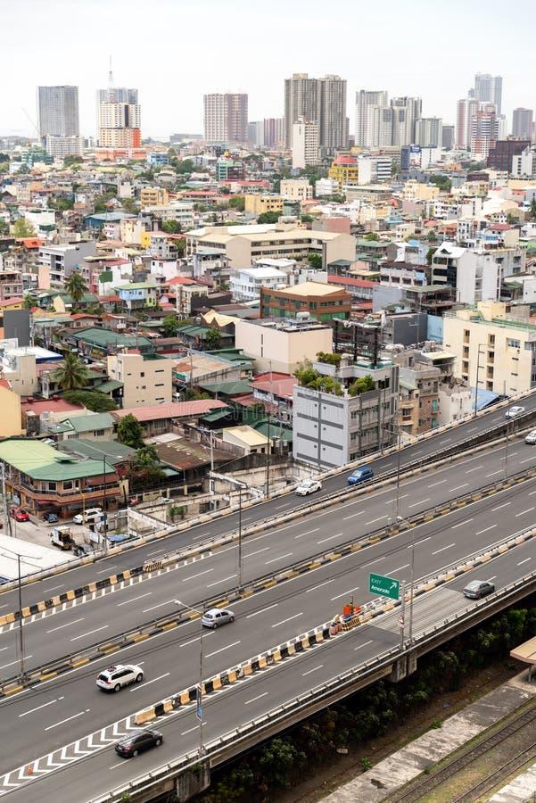 Landskap för tunnelbanaManila stad från Makati, Makati, Filippinerna, Mars 16,2019 royaltyfria foton