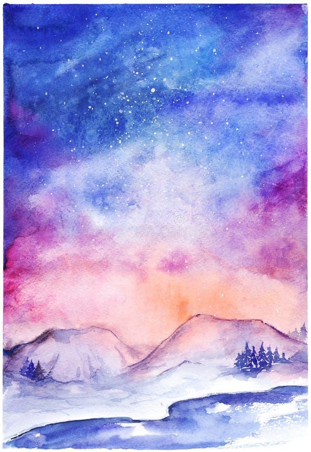 Landskap för utrymme för vinter för natur för nordliga ljus för vattenfärg stock illustrationer