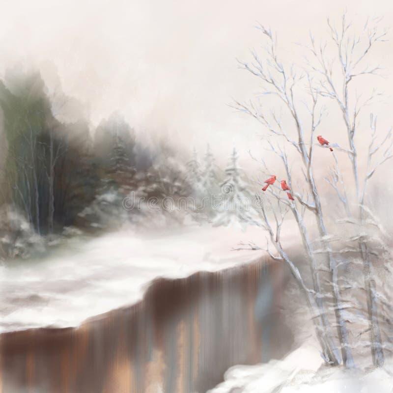 Landskap för vattenfärg för vinterflodfåglar i mist arkivfoton