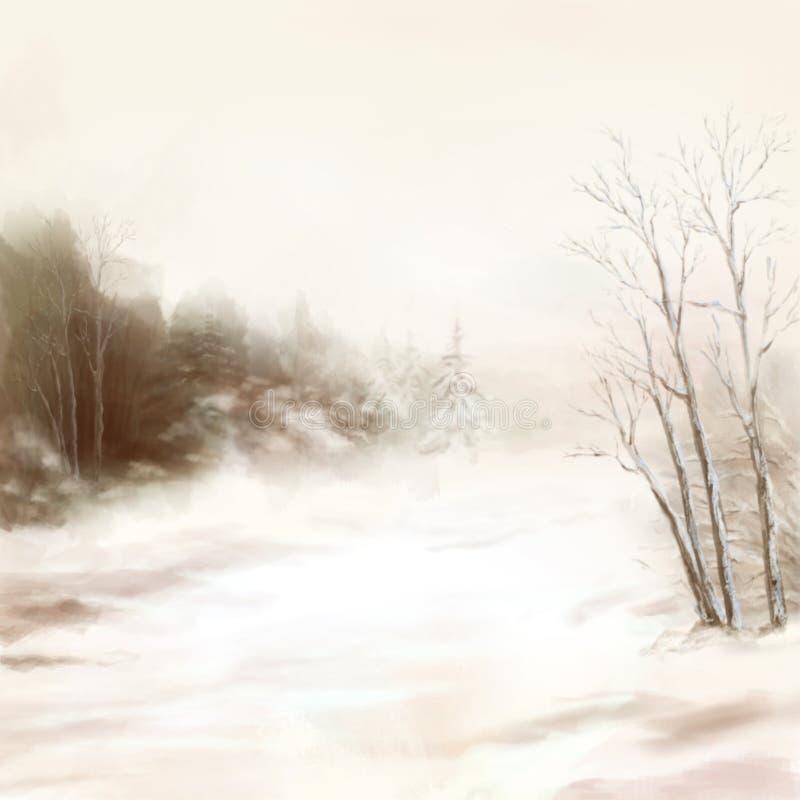 Landskap för vattenfärg för vinterflodfåglar i mist royaltyfri illustrationer