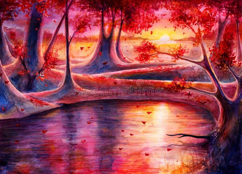 Landskap för vattenfärghöstskog med solnedgången, utdragen målning för hand, fantasikonst med naturen, härlig bakgrund vid vatten arkivbilder