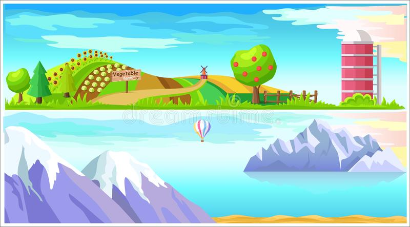 Landskap för vektor för grönsaklantgård- och arktisknatur stock illustrationer
