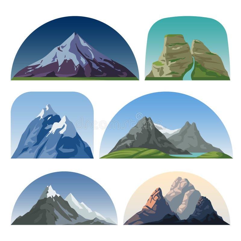 Landskap för vektor för tecknad filmbergsida Utomhus- kulleblast isolerade samlingen royaltyfri illustrationer