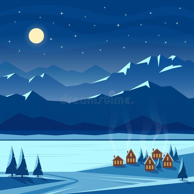Landskap för vinternattsnö med månen, berg, kullar, granträd, hemtrevliga hus Jul och välkomna för nytt år royaltyfri illustrationer