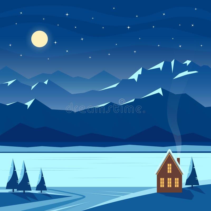 Landskap för vinternattsnö med månen, berg, kullar, stjärnor, granträd, flod, sjö, hemtrevligt hus, bystuga royaltyfri illustrationer