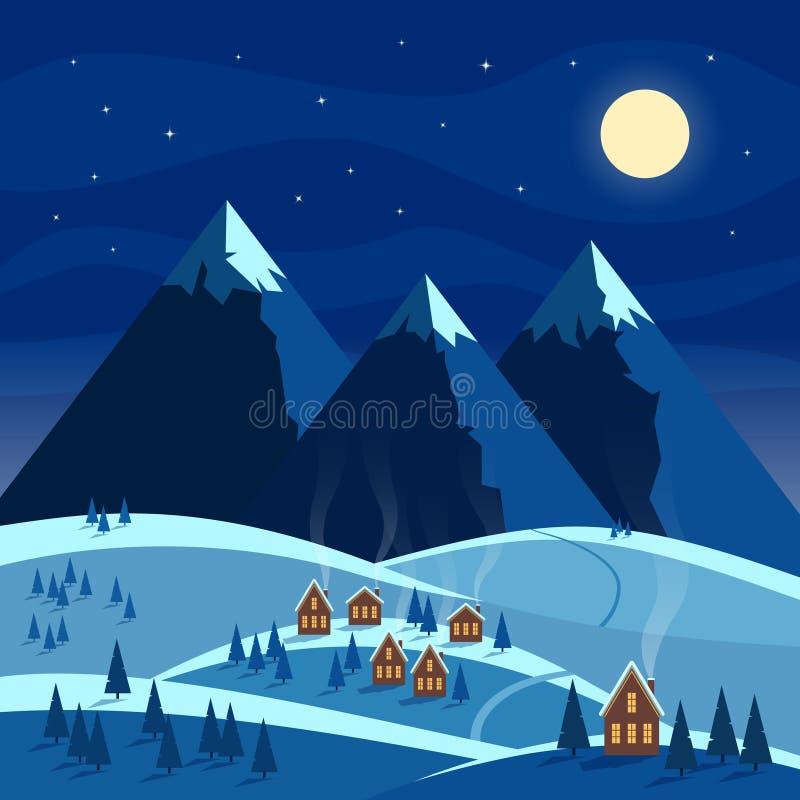 Landskap för vinternattsnö med månen, berg, kullar, träd, hemtrevliga hus med tända fönster Jul och välkomna för nytt år stock illustrationer