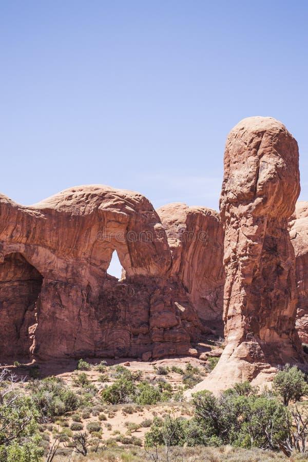 Landskap från bågar nationalpark, utah, USA arkivfoton